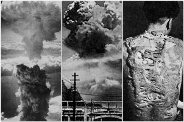 Explosions d'Hiroshima et Nagashaki, et photo d'une femme qui survécu mais porte sur son dos les restes d'une personne calcinée