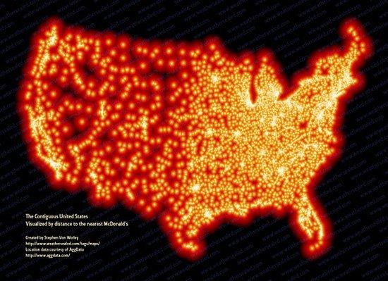 Chaque point lumineux est un Mc Do aux Etats Unis !