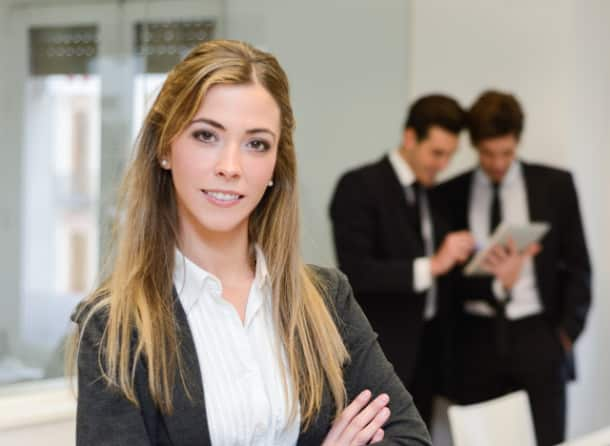 Businesswoman leader looking at camera