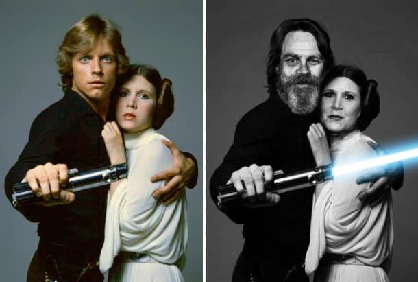 Mark Hamill et Carrie Fisher en Luke Skywalker et Princesse Leia, 1977 et 2015