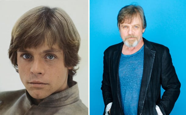 Mark Hamill en Luke Skywalker, 1980 et 2015