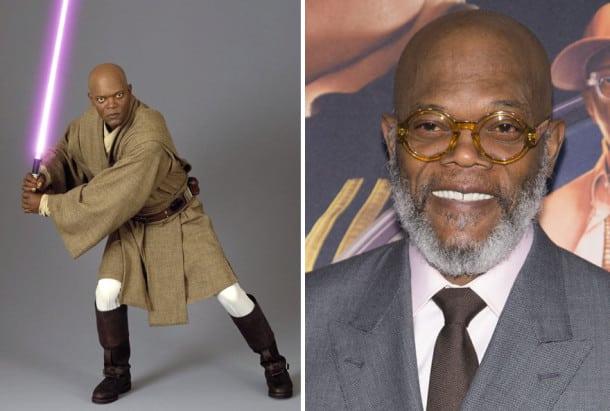 Samuel L Jackson en Mace Windu, 2005 et 2015