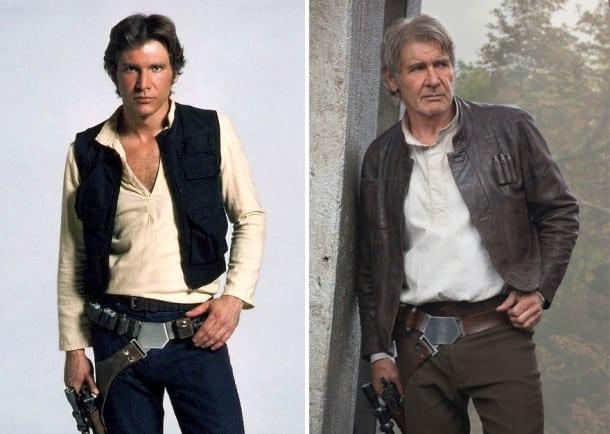 Harrison Ford en Han Solo, 1980 et 2015