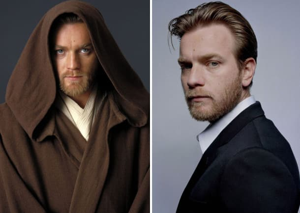 Ewan Mcgregor en jeune Obi-Wan Kenobi, 2005 et 2015