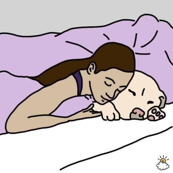 Comment dormez vous avec votre animal de compagnie - Position de la cuillere ...