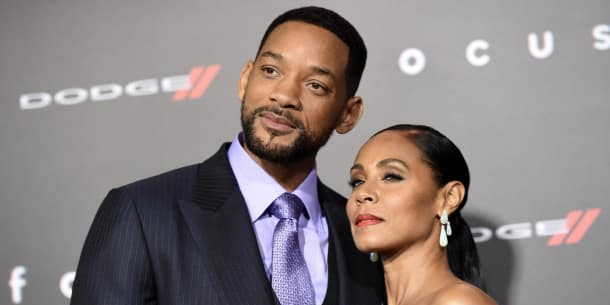 will smith  left  and jada pinkett smith arrive at the