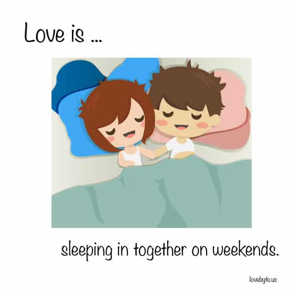 """Dormir ensemble le weekend"""