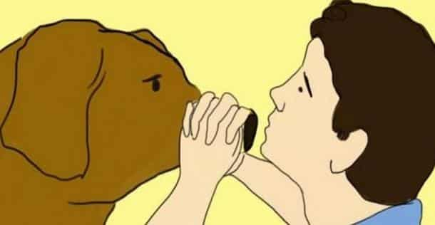 Il attrape la truffe de son chien et se met à souffler