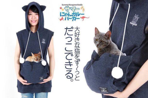 86eb79bddf7d Grâce à ce sweat à capuche, emmenez votre chat partout avec vous !