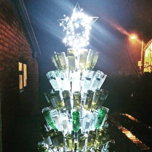 sapin de Noël bouteilles en verre