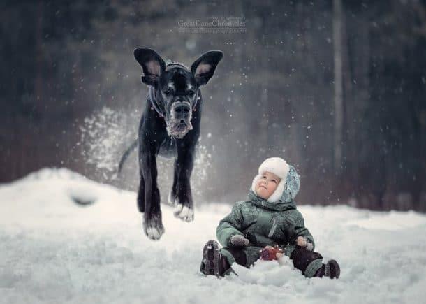 Un bébé et un chien dans la neige