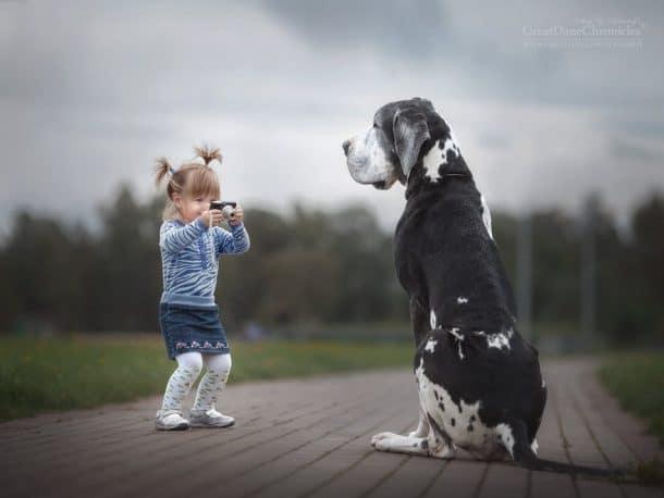Petite fille qui photographie un énorme chien
