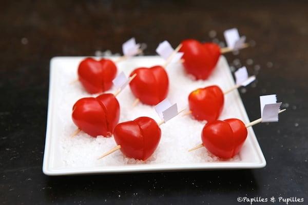 Brochettes de tomates cerises en forme de coeur