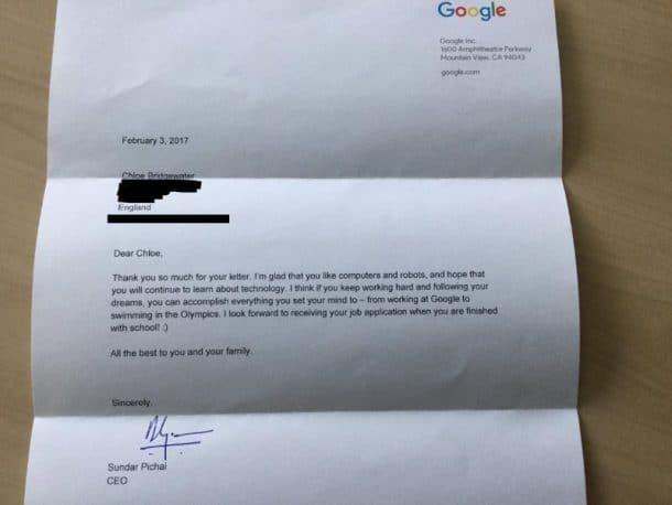 Elle envoie sa candidature à Google et reçoit une réponse de Sundar Pichai