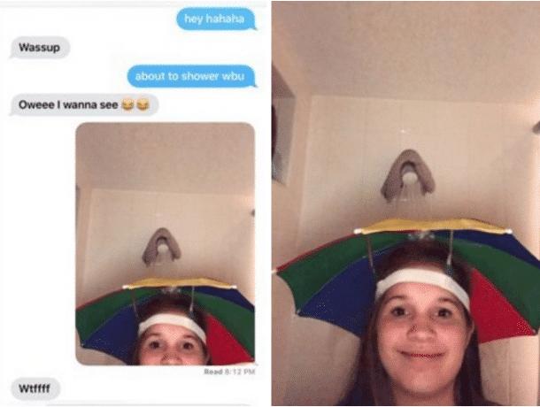 Fille Au Douche un garçon demande à cette fille de lui envoyer une photo d'elle sous