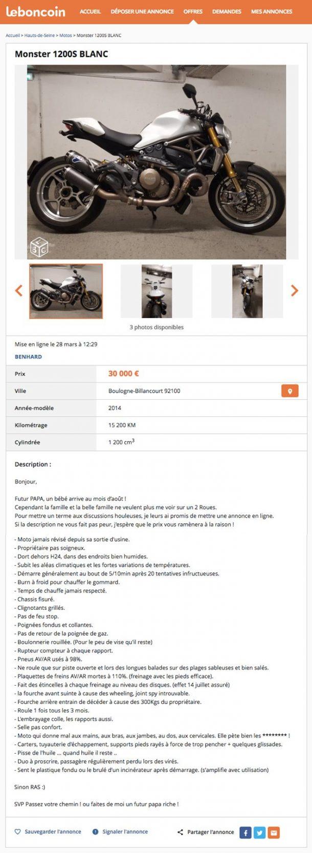 il va devenir papa alors sa famille l 39 oblige vendre sa moto sur leboncoin son annonce est. Black Bedroom Furniture Sets. Home Design Ideas