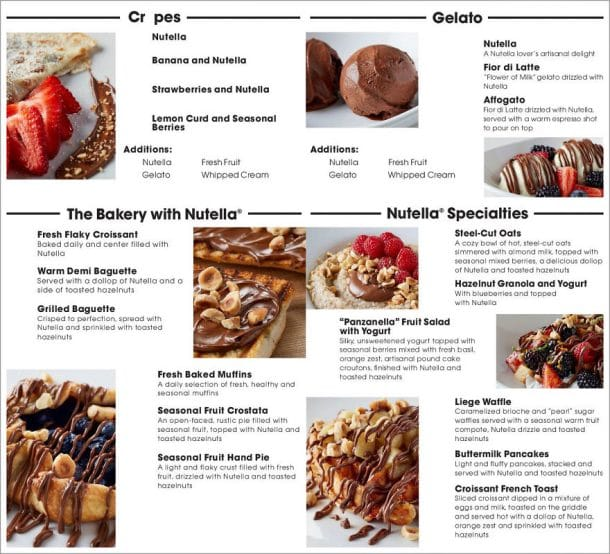 menu cafe nutella