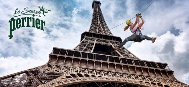 Pour roland garros perrier installe une tyrolienne qui relie la tour eiffel - Prix pour monter a la tour eiffel ...