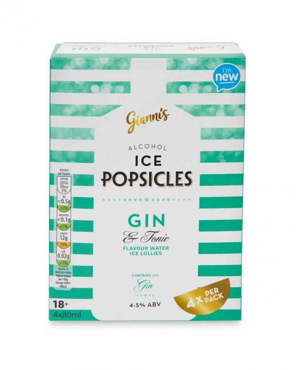 popsicle gin glaces à l'eau alcoolisées