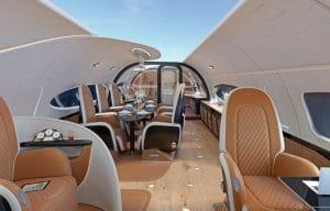 avion de luxe avec toit panoramique
