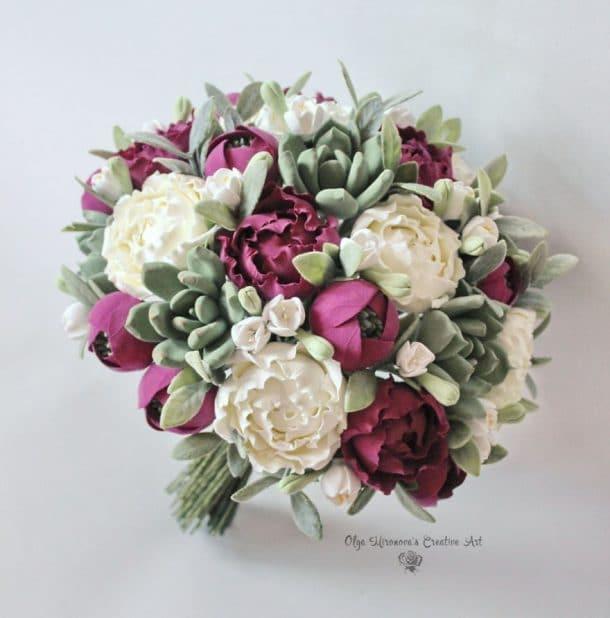 bouquet fleurs argile