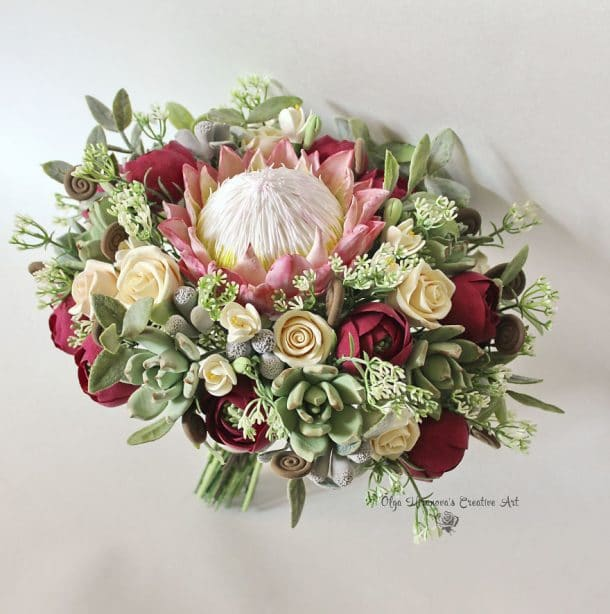 bouquet de la mariee en argile