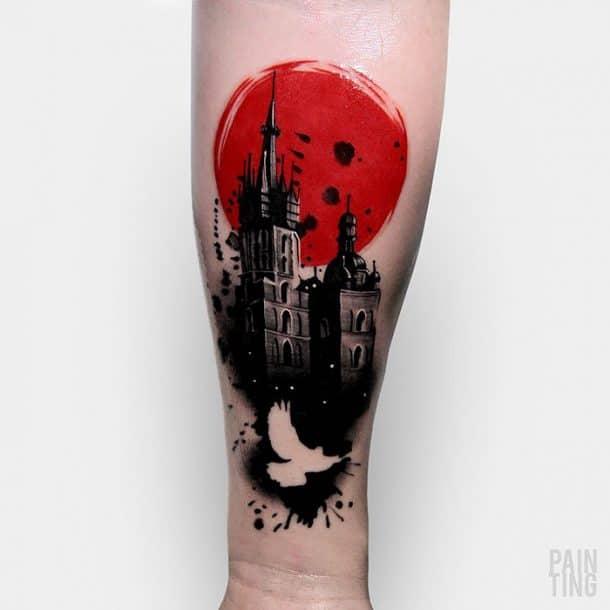 tatouage chateau et lune rouge