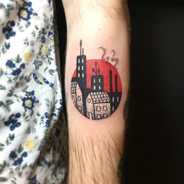 tatouage maisons et immeubles