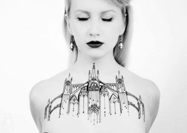 tatouage cathedrale lignes
