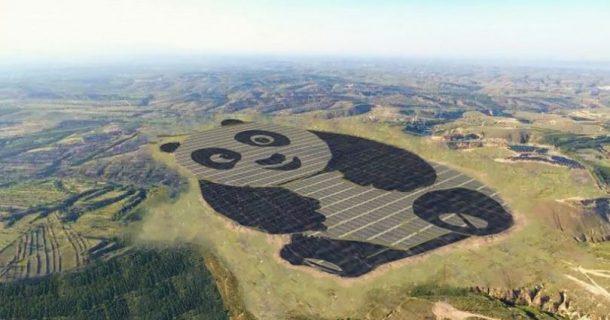 ferme solaire en forme de panda