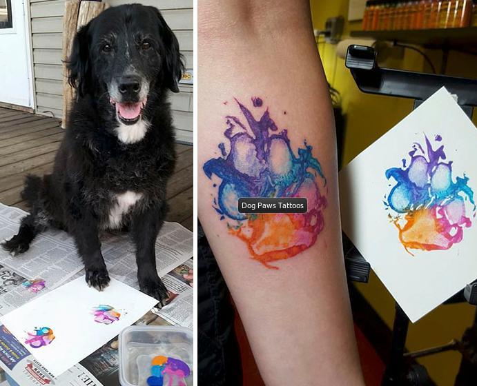 pattes de chien tatouage
