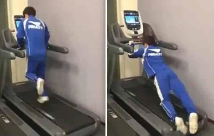 Il tente de monter sur un tapis de course en marche r gl - Courir sur un tapis de course fait il maigrir ...