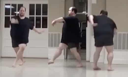 malgré son embonpoint, cet homme danse remarquablement bien