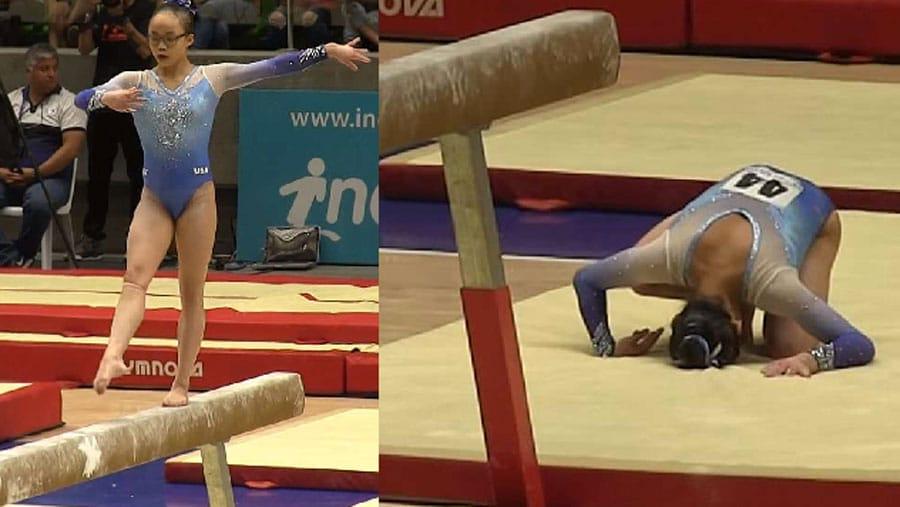 Une jeune gymnaste rate sa sortie de la poutre et tombe - Accident coup du lapin indemnisation ...