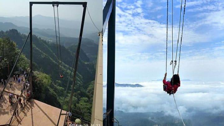 balançoire au bord d'un précipice vertige