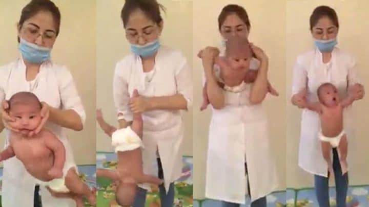 infirmière balance bébé massage torture