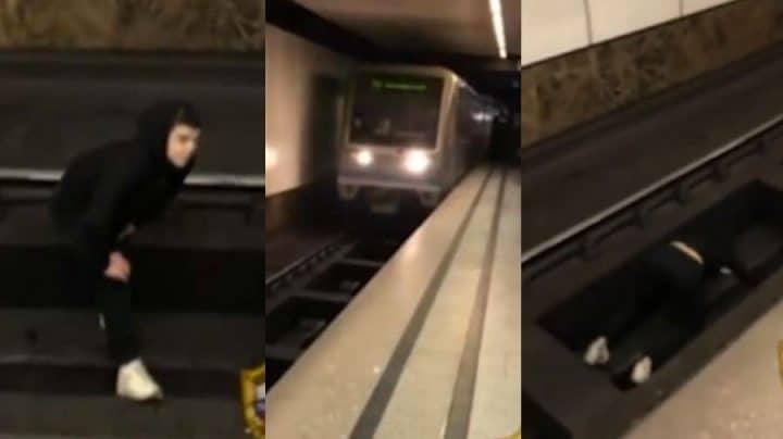saute sur les rails train métro