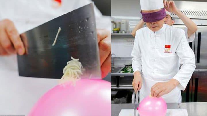 cuisinier coupe pomme de terre ballon