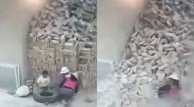 éboulement tas de briques accident