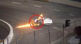 Il sauve son fils d'une voiture enflammée