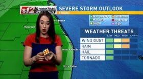 Elle résout un Rubik's cube en présentant la météo