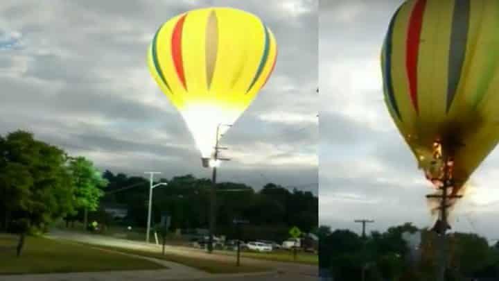 ligne haute tension montgolfière explosion