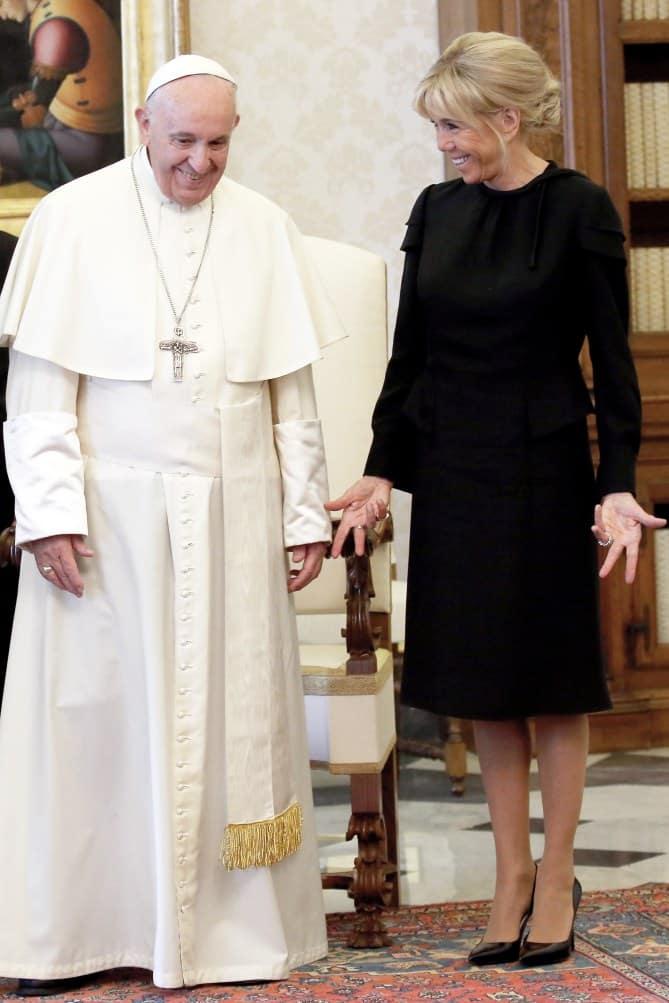 Le Pape François et Brigitte Macron
