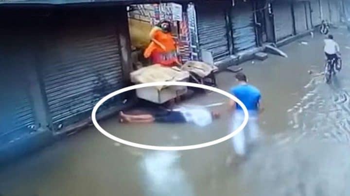 homme meurt électrocuté dans une rue inondée