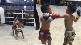 enfants boxe thaïlandaise combat violent