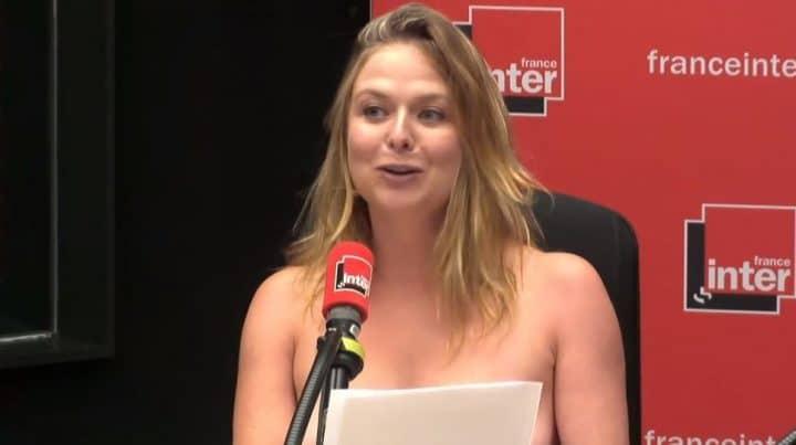 Constance seins nus à la radio