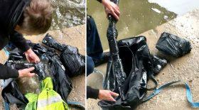 pêche à l'aimant sac armes jetées à l'eau