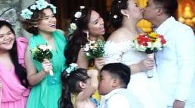 enfants d'honneur s'embrassent bisou mariage