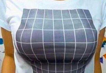 illusion optique 3D grosse poitrine tshirt