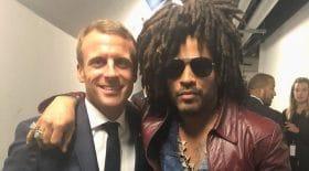 Emmanuel Macron rencontre Lenny Kravitz
